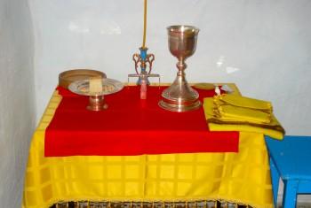 2 августа в поселке Кукан отслужена первая Божественная Литургия. Фоторепортаж