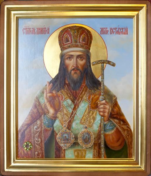 икона святителя Димитрия Ростовского с частицей его святых мощей
