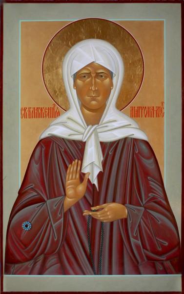 икона св. блаженной Матроны Московской с частицей мощей