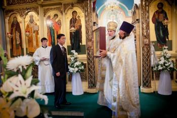 Посещение храма православной делегацией из КНДР