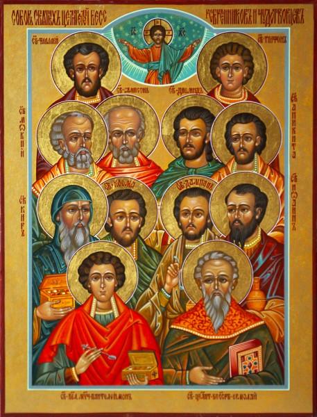 Икона с изображением Собора святых целителей, бессеребренников и чудотворцев
